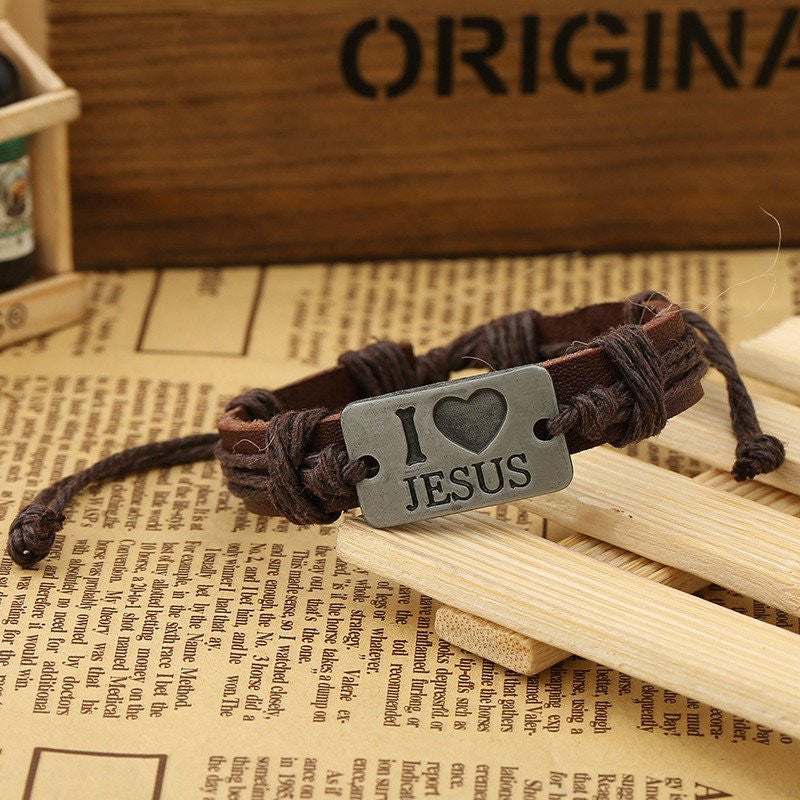 I LOVE JESUS LEATHER BRACELETS - FREE + Shipping - Mercazone