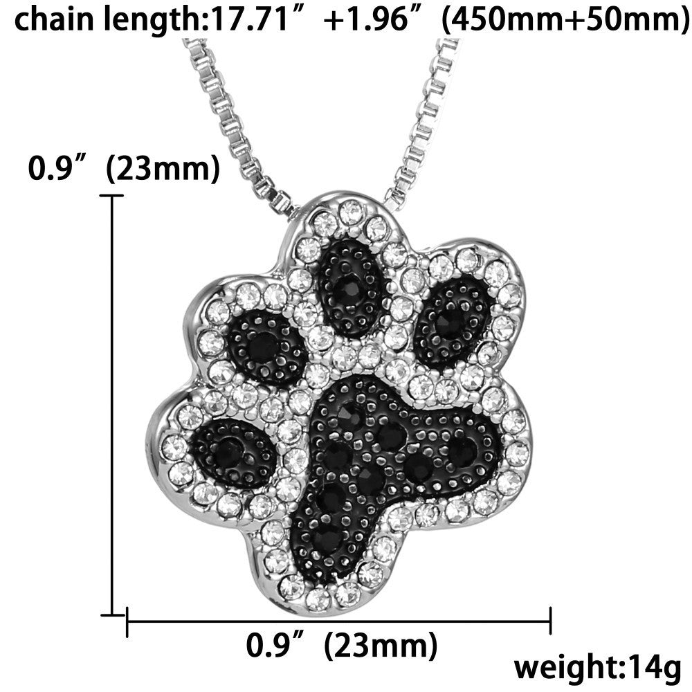 Black paw silver pendant Necklace - for FREE + Shipping - Mercazone