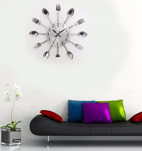Sliver Cutlery Wall Clock