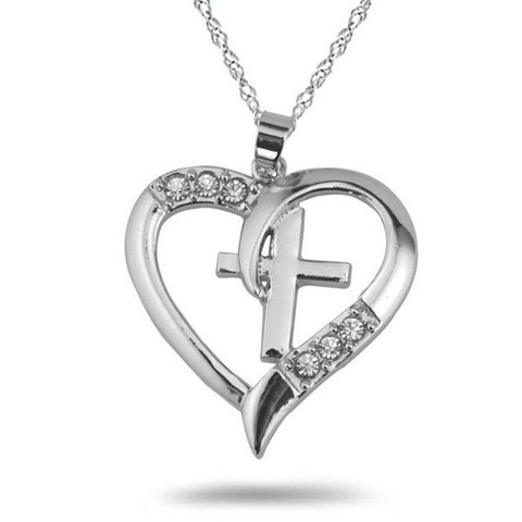 HEART CROSS NECKLACE - FREE + Shipping - Mercazone
