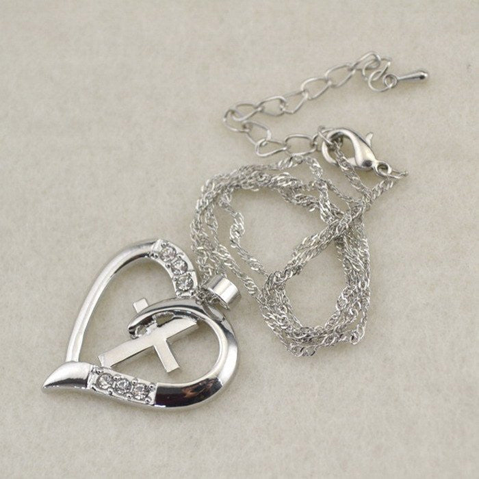 HEART CROSS NECKLACE - FREE + Shipping