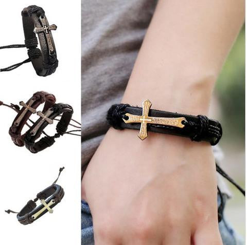 HANDMADE BRAID GENUINE LEATHER BRACELET - FREE Shipping