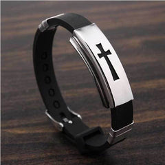 CROSS STAINLESS STEEL BRACELET BLACK RUBBER BANGLE - FREE Shipping