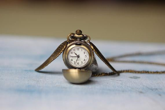 HP Golden Pocket Watch Necklace