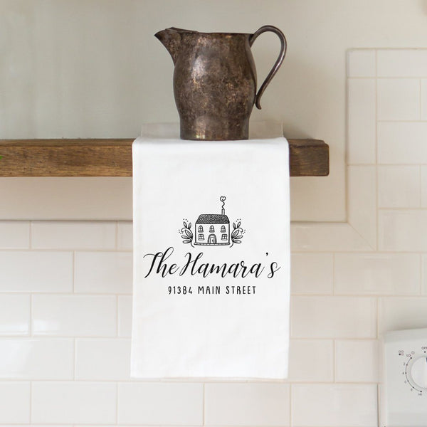 Last Name & Address Tea Towel with House - Personalized Kitchen Towel