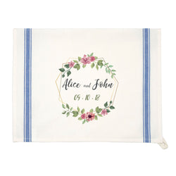 Personalized Vintage Blue Striped Kitchen Towel