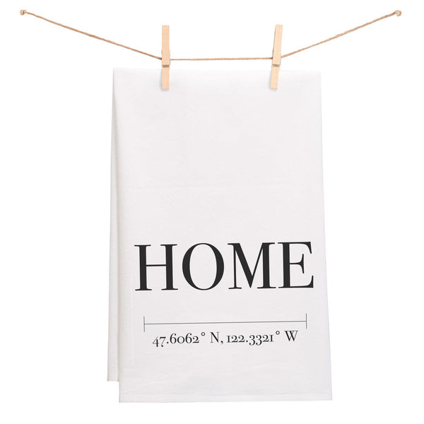 """Home"" Towel with Custom Coordinates"