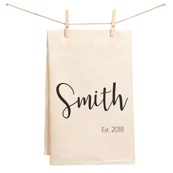 Custom Last Name and Wedding Date Established Towel