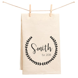 Name and Date Wreath Towel