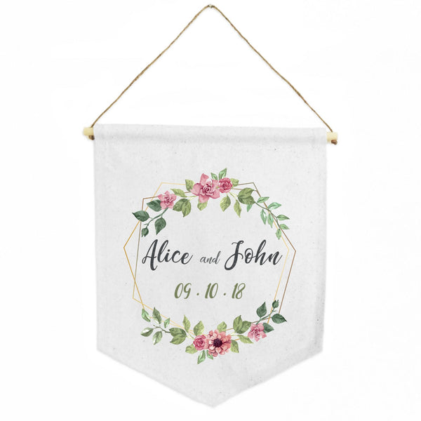 Personalized White Cotton Shield Banner