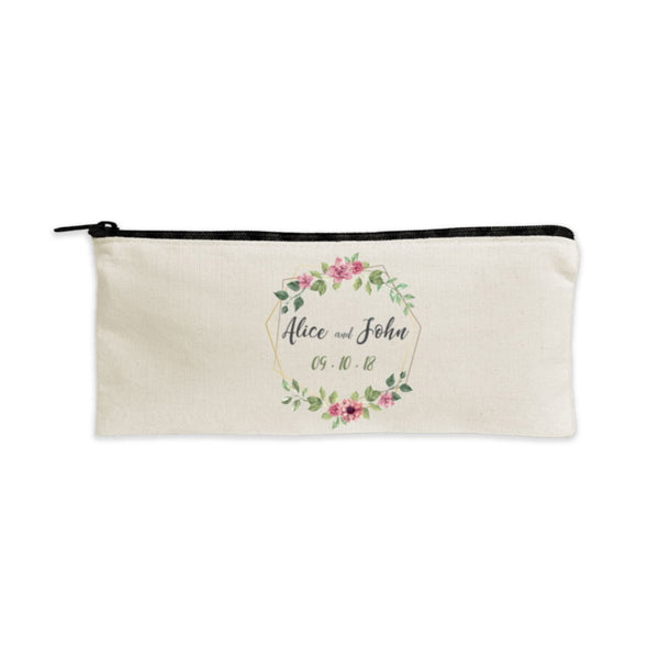 Personalized Cotton Pencil Pouch with Black Zipper