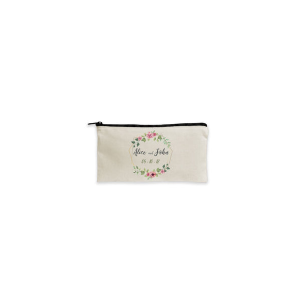 Personalized Cotton Wallet Pouch with Black Zipper