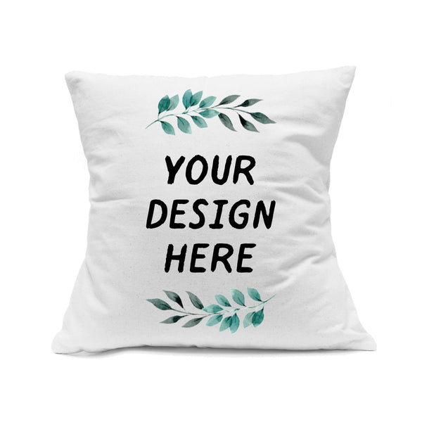 "Custom Printed White Canvas Pillowcase with Zipper 18""x18"""