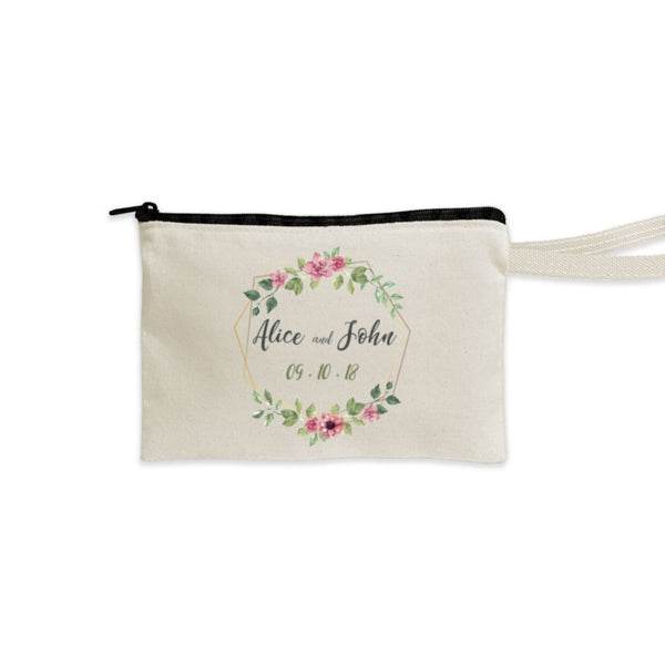 Personalized Cotton Wristlet Pouch with Black Zipper