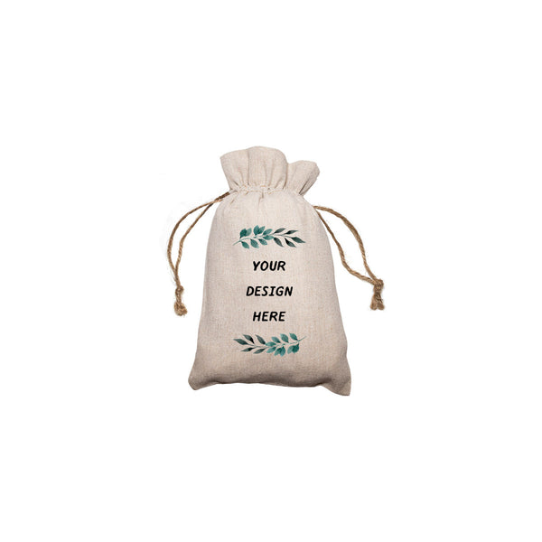 "Personalized Linen Drawstring Gift Bag - 4""x 6"""
