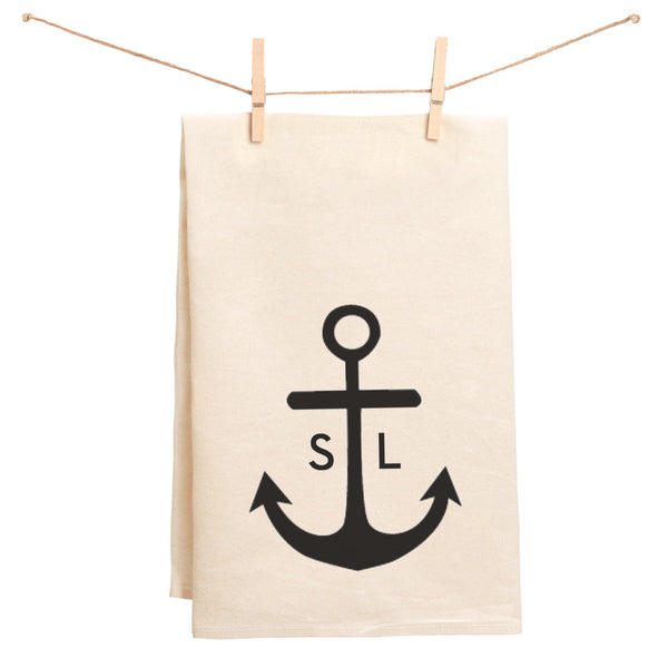 Initials and Anchor Monogrammed Towel