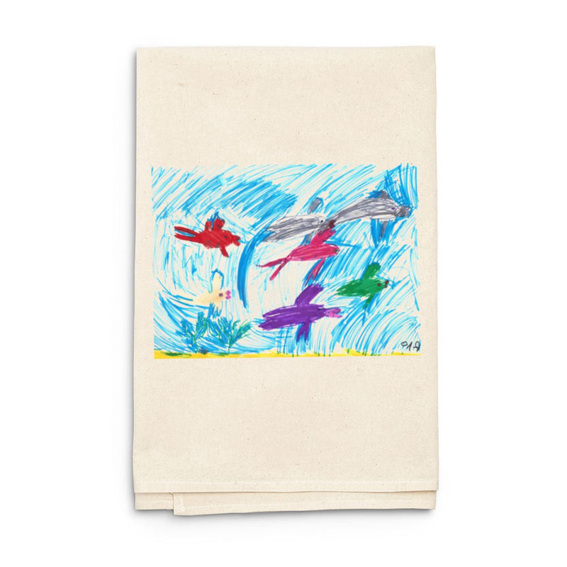 Natural Towel with Custom Child Art