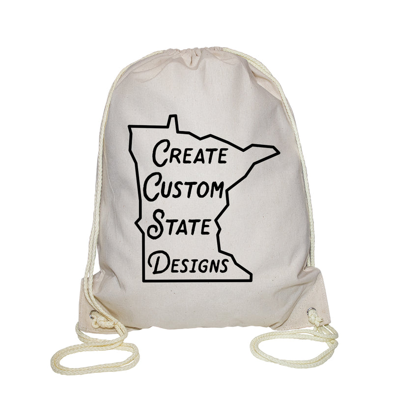 Personalized Natural Cotton Canvas Drawstring Backpack
