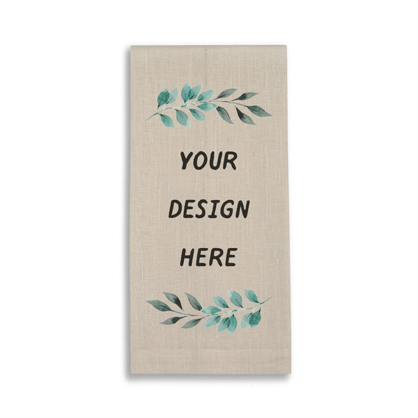 Personalized Linen Natural Oatmeal Guest Towel