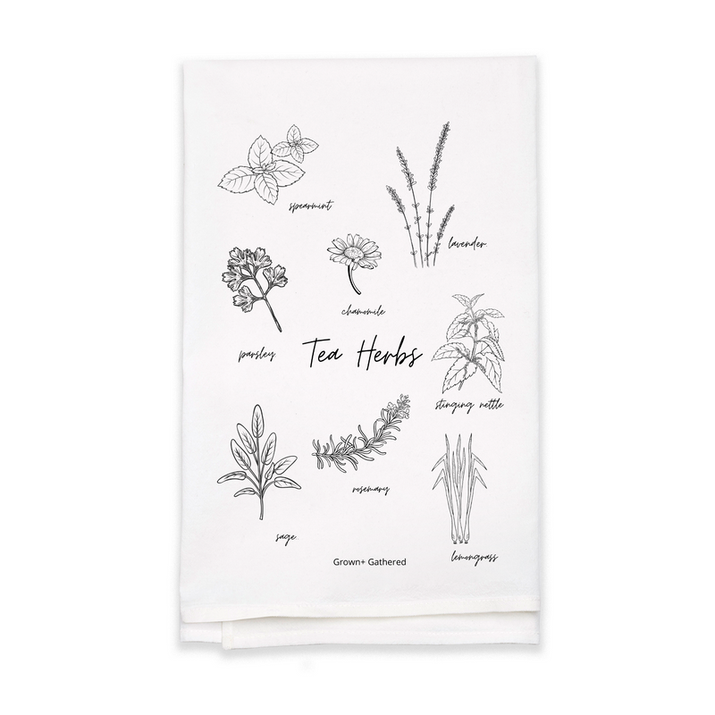 Tea Herbs - White Flour Sack Tea Towel (Wholesale)