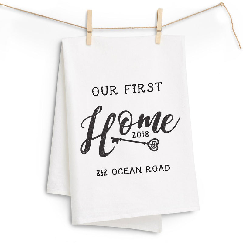 """Our First Home"" Address Tea Towel - Personalized Kitchen Towel"