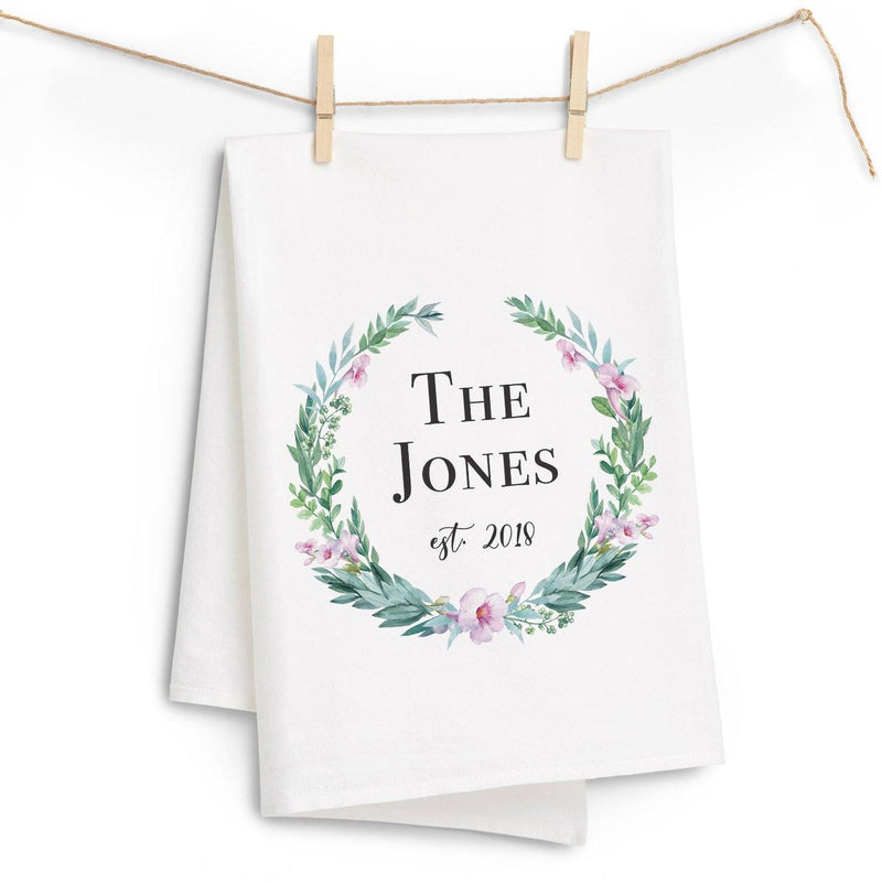 Last Name Watercolor Wreath Tea Towel - Personalized Kitchen Towel