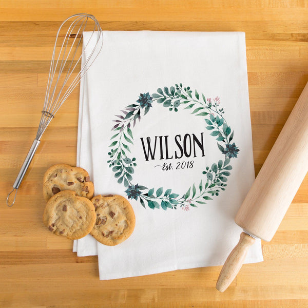 Last Name & Date Wreath Tea Towel - Personalized Kitchen Towel