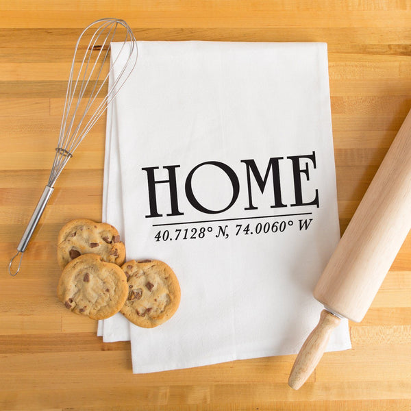 """Home"" Custom Coordinates Tea Towel - Personalized Kitchen Towel"