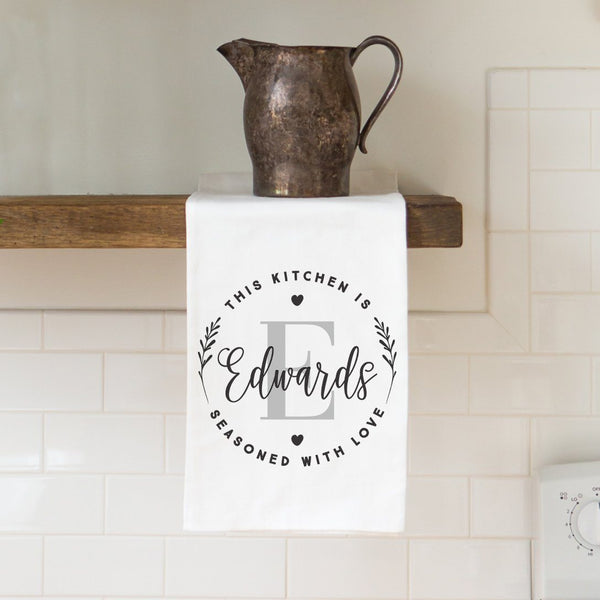 """Seasoned with Love"" Monogram Tea Towel - Personalized Kitchen Towel"