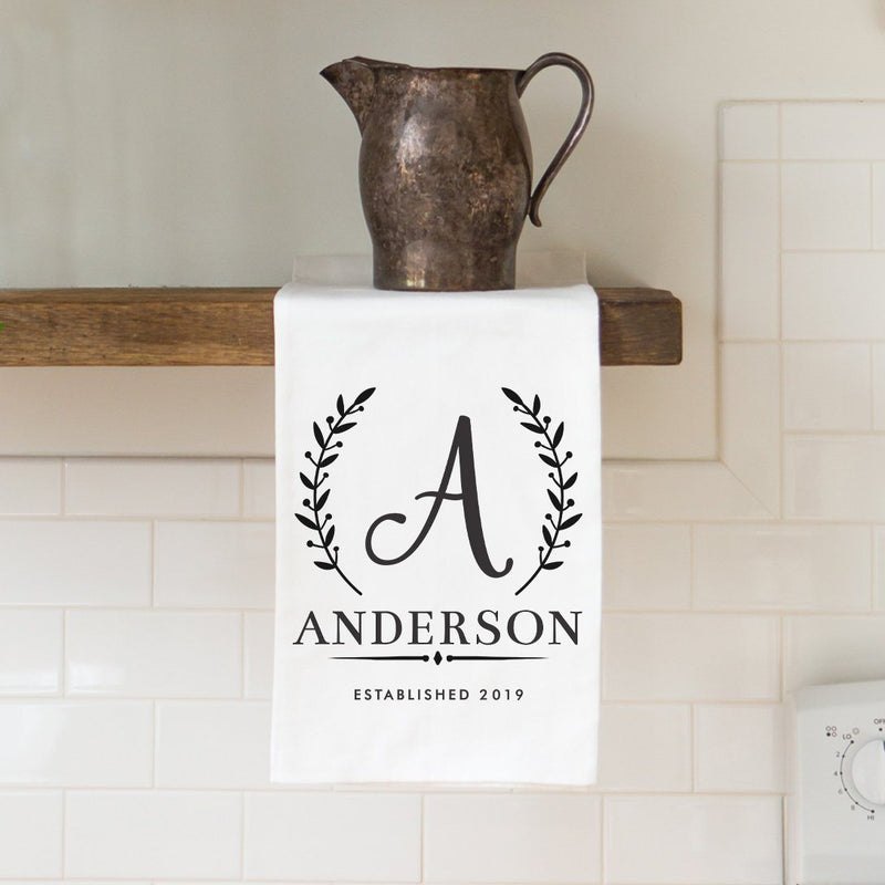 Monogram Family Name Tea Towel - Personalized Kitchen Towel