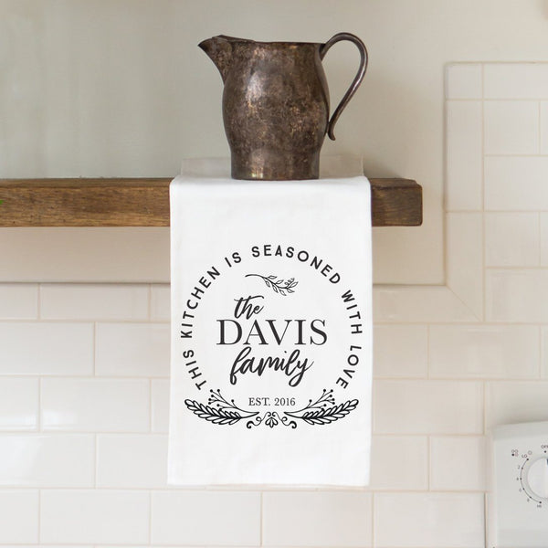 """Seasoned with Love"" Family Name Tea Towel - Personalized Kitchen Towel"