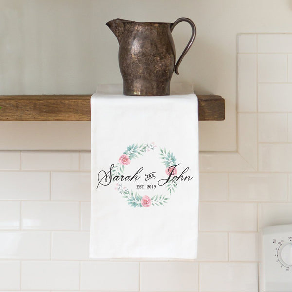 Couples Towel Tea Towel with Floral Wreath - Personalized Kitchen Towel