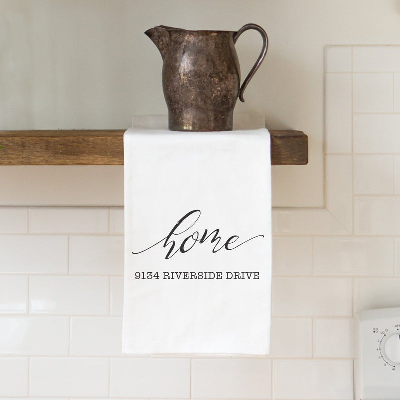 """Home"" Address Custom Tea Towel - Personalized Kitchen Towel"