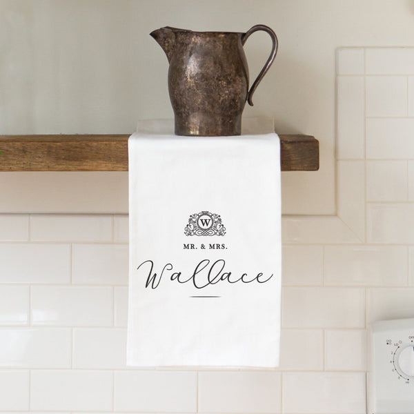 Wedding Monogram Tea Towel - Personalized Kitchen Towel