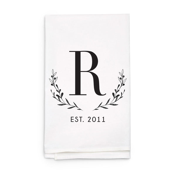 Monogram Laurel Wreath Tea Towel - Personalized Kitchen Towel
