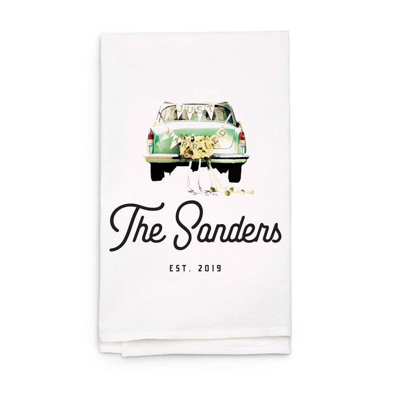 """Just Married"" Car with Last Name Tea Towel - Personalized Kitchen Towel"