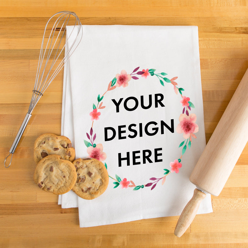 Artwork Personalized White Flour Sack Kitchen Towel