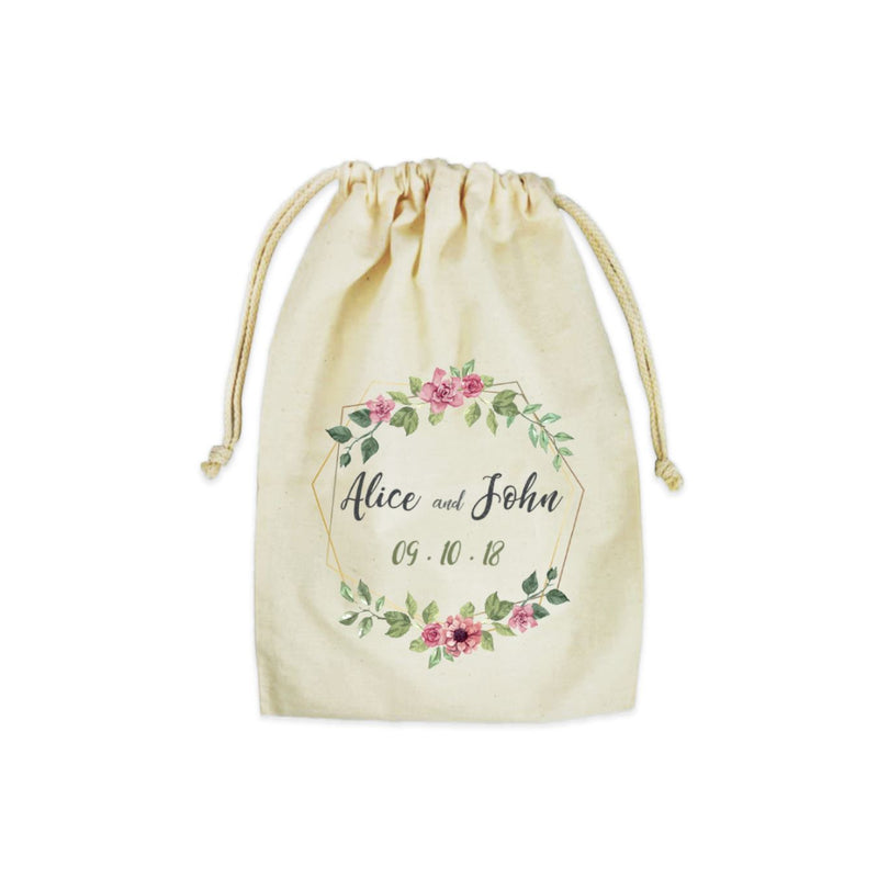 "Personalized Cotton Drawstring Gift Bag 6""x9"""