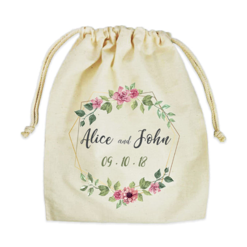 "Personalized Cotton Drawstring Gift Bag 12""x14"""