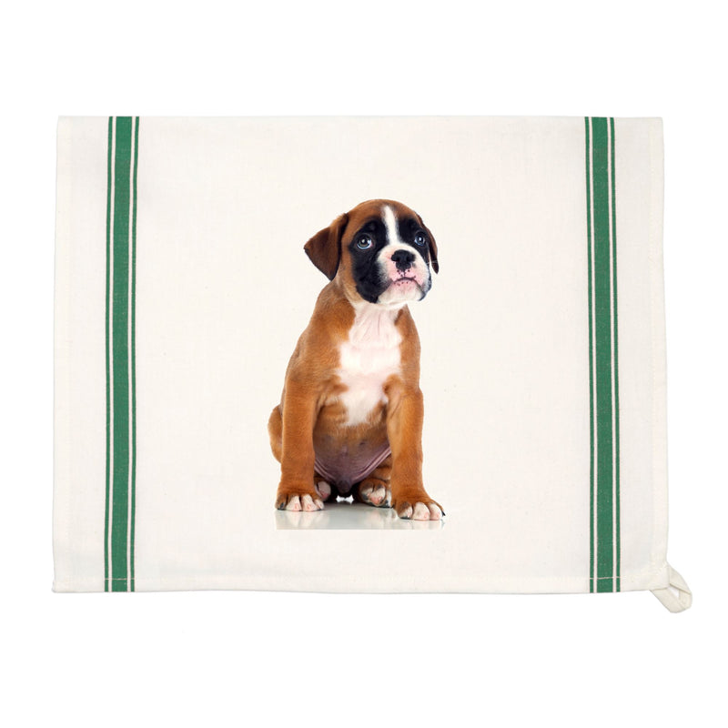 Personalized Vintage Green-Striped Kitchen Towel