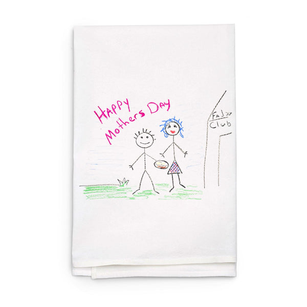 White Towel with Custom Child Art