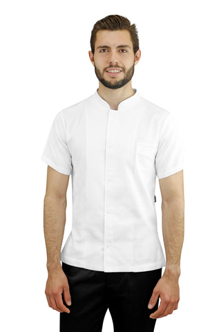 Dubai White Men's Chef Coat - PermaChef USA