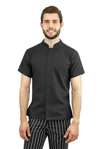 Dubai Black Men's Chef Coat - PermaChef USA