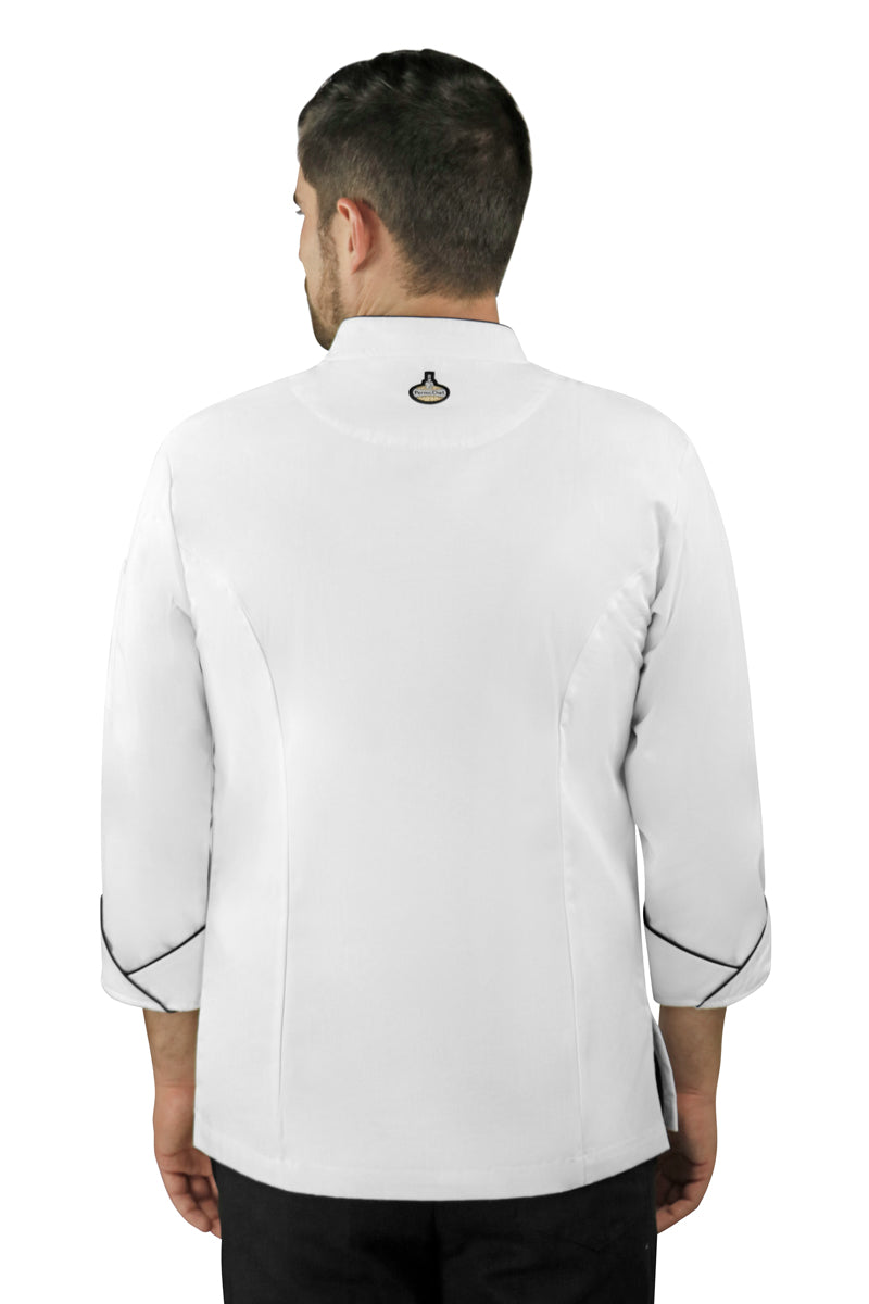 Classic Men's Chef Coat with Piping - PermaChef USA