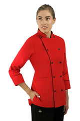 Classic Women's Chef Coat with Piping