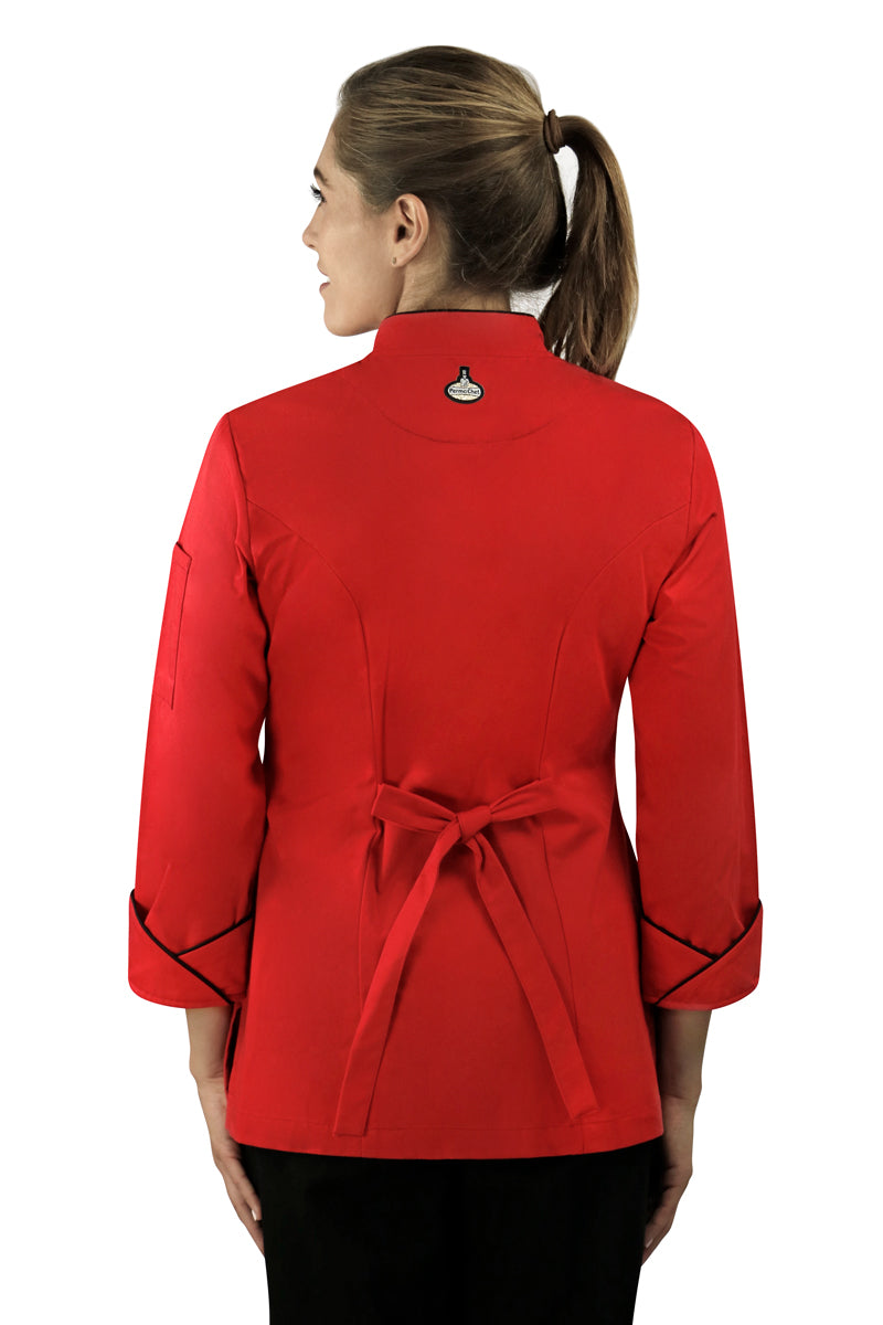 Classic Women's Chef Coat with Piping - PermaChef USA