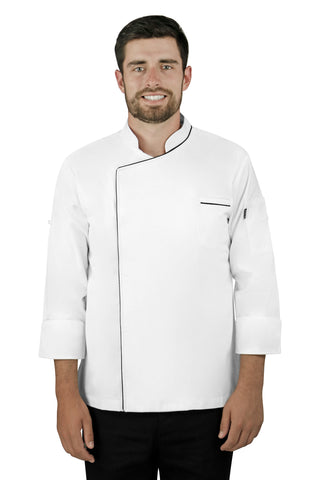 Classic Men's Chef Coat with Piping