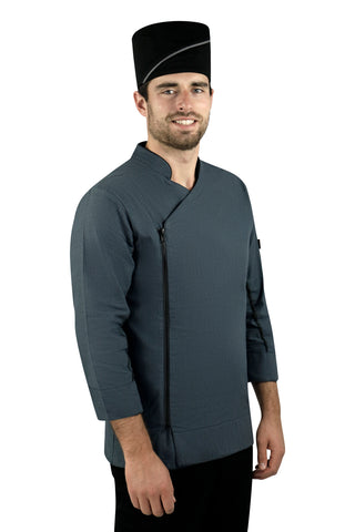 Classic Men's Chef Coat with Striped Collar