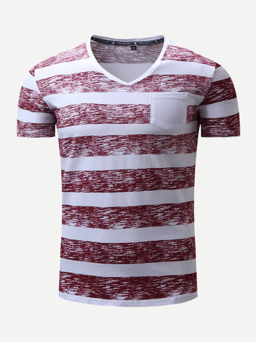 Men Cuffed Striped Pocket Tee