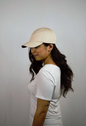 COL Unisex Crew Cap in Stone Color Without Logo with a model